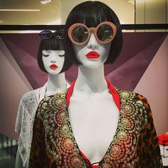 "DAVID JONES, Melbourne, Australia, ""It sounds crazy Jeanine, but I promise it's true: Wearing red lipstick really can change the course of a night out"", Cameleon mannequins by Window France, pinned by Ton van der Veer"