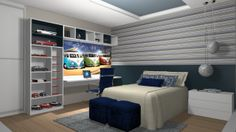 Dormitório em Melamínico Bianco Nebbia e Lacca Petrolio