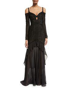 J. Mendel Mixed-Lace Cold-Shoulder Gown 2256d99a9e0c