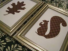 Squirrel Wall Art - Silhouette Project?  Use animals for kids room