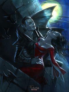 Acryl on paper, digital overpaint Vampire and Lady Vampire Bride, Vampire Love, Gothic Vampire, Vampire Queen, Vampire Girls, Vampire Art, Arte Horror, Horror Art, Dark Fantasy Art