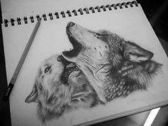 Волки. Рисунок, исполненный карандашом.