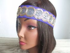 Bohemian Sequin headband elastic back Purple headband by myfashioncreations, $22.00