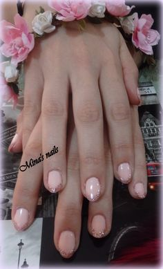 spring french nails with glitter for Kyriaki... <3