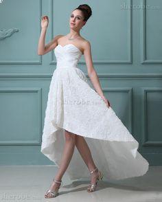 A linie Sweep Zug Romantisches Lockeres Brautkleid aus Taft mit Blume