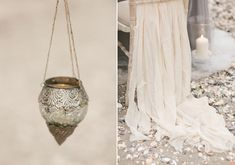 I just saw this inspo on 100 layer cake and thought of another option. these 'bohemian' style vessels could look nice hanging from the pews filled with flowers.maybe we could find some crystal like vessels? just another thought. so many options! Romantic Weddings, Unique Weddings, Beach Weddings, Perfect Wedding, Dream Wedding, Wedding Dreams, Wedding Vows, Wedding Day, Best Wedding Blogs
