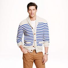 Cashmere shawl cardigan in nautical stripe