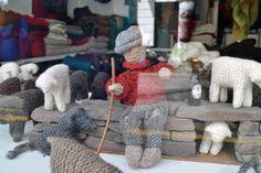 Wool & Yarn shop window display in Dingle, County Kerry. Wool Yarn, Merino Wool Blanket, Yarn Display, Wool Shop, Yarn Store, Shop Window Displays, Craft Shop, Shop Signs, Visual Merchandising