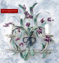 Applique fiori di Lavanda con Fiocco in corda per la Cameretta Romantica. Collezione Country.