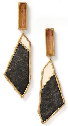 Sut'ana Monique Pean - Woolly, black jade and straw topaz earrings