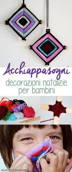 Tutti amano gli acchiappasogni, quindi perché non metterli sull'albero di Natale? Queste decorazioni natalizie per bambini sono facili, colorati e divertenti da fare! www.cucicucicoo.com