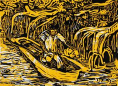 """Canoa"" by Adolfo Mexiac. Screen print, 1999. #Latino #art #serigraphy"