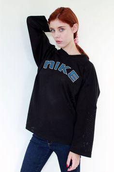UNISEX NIKE SPORTY ATHLETIC MESH BLUE & BLACK BOYFRIEND LOOSE JERSEY TOP S M