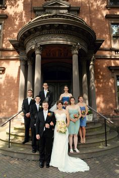 Lippitt House's portico is a wonderful natural staging area for wedding photographs! Photo courtesy Caitlin Maloney.