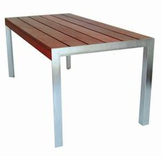 8ft modern outdoor table, ipe and stainless, $4999