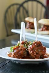 These meatballs are made with lamb Greek seasoning and cilantro. Cooked in a fresh tomato sauce they are the perfect tapas dish. Greek Meatballs, Spicy Meatballs, Lamb Recipes, Meatball Recipes, French Appetizers, Appetizer Recipes, Dinner Recipes, Meatball Sauce, Tapas Dishes
