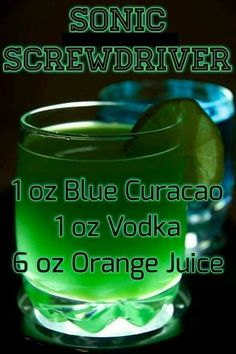 Sonic Screwdriver dr Sonic Screwdriver drink recipe – Food is fun Sonic Screwdriver, Liquor Drinks, Cocktail Drinks, Green Cocktails, Craft Cocktails, Refreshing Drinks, Yummy Drinks, Licor Baileys, Cocktail Recipes
