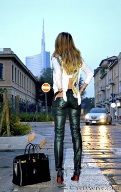 7 For All Mankind skinny jeans liquid metallics  coated fall winter 2012 2013.