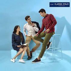 Este posibil ca imaginea să conţină: 3 persoane, pantofi Head S, Shirt Style, Denim Jeans, Your Style, Shop Now, Polo, Slim, Classic, Fitness