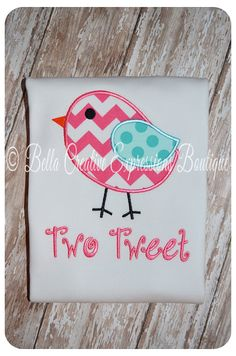 Two Tweet Appliqued Bird Shirt or Boydsuit by BellaCEBoutique, $24.00