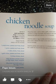 Slimming world Chicken noodle soup
