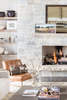 Designer Nicole Davis let the landscape of Park City, Utah dictate the design of this playful vacation home. Home Fireplace, Fireplace Remodel, Fireplace Design, Fireplaces, Fireplace Mantels, Mantle, Cottage Living, Home Living Room, Living Room Decor