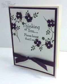 This is a cheerful looking Thinking Of You Card. Thoughts and Prayers www.lisastamps.com