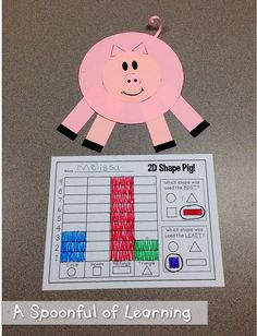 3 Little Pigs Pete the Cat FREEBIES! The craft not the sheet - maybe could write the number of how many of each shape we used. 3 Little Pigs Activities, Farm Activities, Nursery Activities, Toddler Activities, Community Helpers Kindergarten, Kindergarten Units, Traditional Tales, Traditional Stories, Pig Crafts