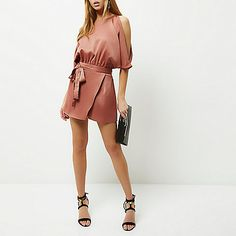 Copper tie waist cold shoulder playsuit - playsuits - playsuits / jumpsuits - women