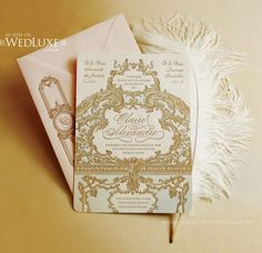 A Marie Antoinette wedding   invitation Bridesmaid Luncheon, Wedding Stationary, Royal Wedding Invitation, Elegant Invitations, Gold Invitations, Invitation Ideas, Invitation Cards, Royal Weddings, Royal Wedding Themes