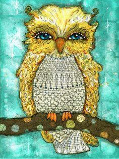 OWL by shfoust on Etsy.love her artwork! Illustrations, Illustration Art, Art Fantaisiste, Owl Quilts, Owl Bags, Whimsical Owl, Felt Owls, Beautiful Owl, Art Deco Posters