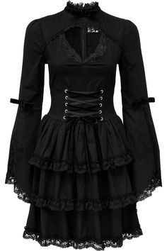 Tomiko Lolita Dress [B] | KILLSTAR Fall into a deep trance with the spellbinding 'Tomiko' lolita dress; elegant lines and constructed fit - for perfect looks and comfort. In a luxe cotton blend fabric, all-black with perfectly executed details. High collar with bow and flared sleeves with slit. Scallop lace trims, keyhole chest with statement corset-lace detailing and a triple layer skirt. Zip back for easy on & off.A stylish yet simple statement piece that is oh-so-versatile.