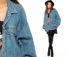 80s Denim Jacket JORDACHE Jean Jacket Oversize Grunge by ShopExile