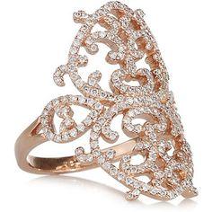 Diane Kordas 18-karat rose gold diamond arabesque ring