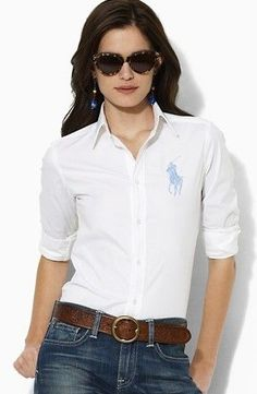 One of my favorite simple looks- White T, Jeans, Brown Belt- Ralph · White  WomenCotton ShirtsPolo ...