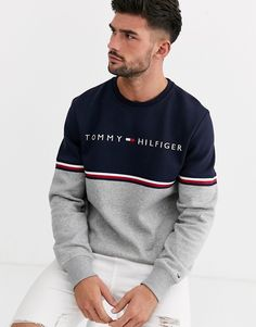 sweatshirt estampadas Tommy Hilfiger dougless sweatshirt in NAVY Mens Polo T Shirts, Mens Sweatshirts, Casual Shirts For Men, Men Casual, T Shirt Men, Nike Shirt, Sueter Tommy Hilfiger, Tommy Hilfiger Outfit, Tommy Hilfiger Clothing