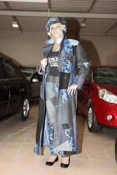Fabstyle, Fabienne C, Authentique08 Jeans Long Manteau en patchwork créé et réalisé par Fabienne C., pièce unique, Création Française sur demande