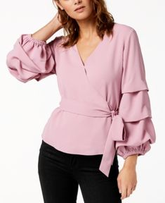Bar Iii Surplice Volume-Sleeve Top, Created for Macy's - Pink XS Fashion Over 50, Latest Fashion For Women, Womens Fashion, Fashion Night, Fashion Edgy, Fashion 2018, Professional Attire, Fashion Videos, Mode Hijab