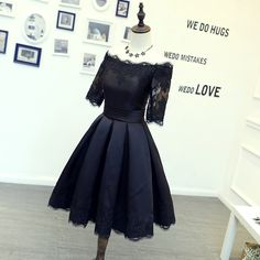 Black Off The Shoulder Short Dress, Cocktail Dress, Homecoming Dress With Lace Appliques