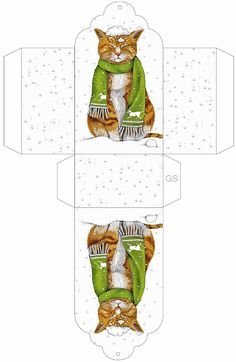 Cat with snow on its head. This would make a little gift bag, or it could be cut into two gift tags, depending on how it's resized. Box Templates Printable Free, Paper Box Template, Free Printables, Origami Templates, Diy Gift Box, Diy Gifts, Free Gifts, Diy Paper, Paper Crafts