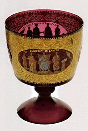 Decoration by Francesco Toso Borella. Enamelled goblet of classical inspiration Glass Museum Wine Glass, Glass Art, Italy Tourism, Glass Museum, Italian Art, Murano Glass, History, Gallery, Venice Italy