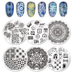 0.63$  Watch now - http://aichf.worlditems.win/redirect/32783973685 - 1 Pc BORN PRETTY 5.5cm Round Nail Art Stamp Template Butterfly Flower Clock Hourglass Cats Design Manicure Nail Art Image Plate   #SHOPPING