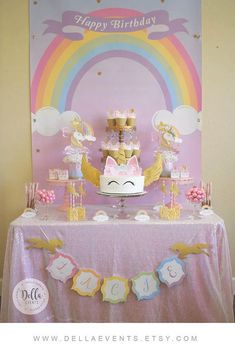 All files are downloadable, no physical items will be shipped to you. Unicorn Party Package Package Includes: Centerpieces Happy Birthday Banner Name Banner Cake Topper Cupcake Toppers Rainbow Food Tent Cards Rice Krispy Toppers Mini Hersey Wraps Food Cone Bag Toppers Favor Bag Fronts