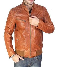 BARESKIN TAN BROWN BIKER LEATHER JACKET (M)