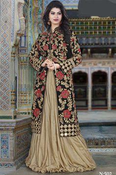 af190d1aeb1a Beige & Black Art Silk Semi Stitch Indo Western Dress Lengha Choli, Lehenga  Choli Online