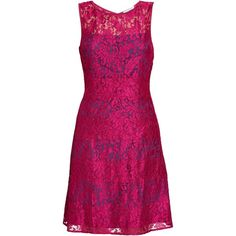 Gina Bacconi Scallop Eyelash Lace Dress, Navy/Pink ($315) ❤ liked on Polyvore featuring dresses, navy blue cocktail dress, v neck cocktail dress, pink maxi dress, metallic cocktail dress and floral maxi dress
