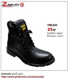87e63fa6c حذاء رجالي رقبة عالية - لون اسود - جلد Men's shoes, black color, online  shopping, zaweyaty Pinterest