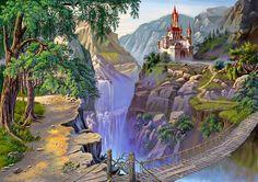Раскраски по номерам Картина Мост к Сказочному Замку 40х50 см на холсте GX7499 Paintboy