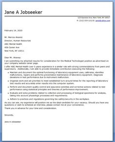 Cover Letter Medical Laboratory Technician | Creative Resume ...
