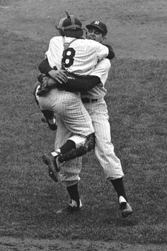 Don Larsen celebrates his perfect game with Yogi Berra after Game 5 of the 1956 World Series.